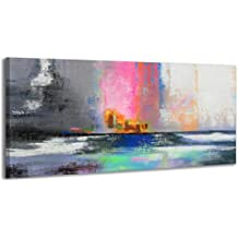 100% HANDMADE + certificato / Quadro dipinto con colori acrilici Equilibrio / dipinti su tela con lettiga in legno / artigianali / Comodo fissaggio alla parete / Arte Contemporanea /115x50 cm - Decorazione Della Parete Pittura Acrilica