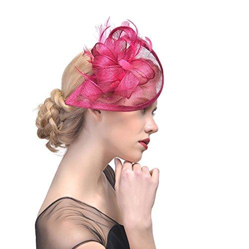ZYCC Donne Fascinator Ampie Strisce Accessori per Capelli di Cappello di Cerimonia Nuziale dei Capelli del Fiore (Prugna rossa)