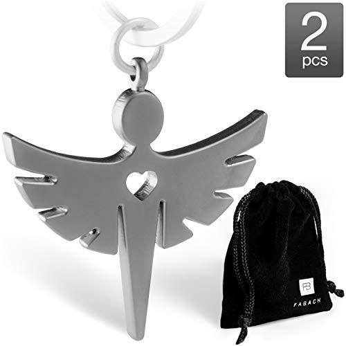 2 Schutzengel Schlüsselanhänger mit Herz – Edler Engel Anhänger aus Metall in mattem Silber – Glücksbringer Geschenk für Auto, Führerschein – FABACH™