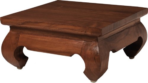 MACABANE Nomades Design 500579 Mini Table Opium 30 Couleur Miel en Teck et Contreplaqué Dimension 30cm X 30cm X 15cm