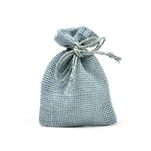 Trade shop www.tradeshopitalia.con - 25 sacchetti di juta azzurro per bomboniere confetti compleanni matrimonio