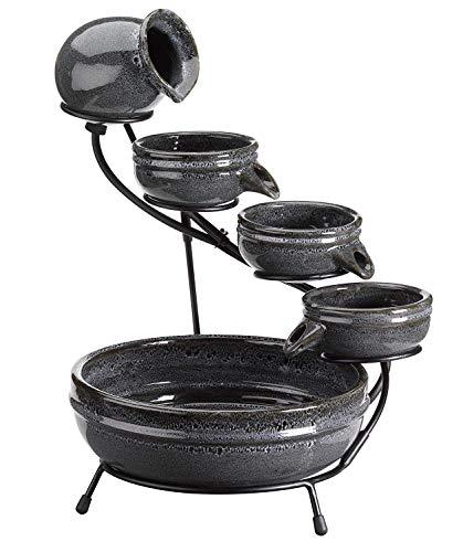 garden mile® Keramik-Kaskadenbrunnen - Tafelaufsatz Garten Skulptur - Kaskadenwasserfall Keramik-Topf Gartenspiel Niedrigspannung-Solarbrunnen -
