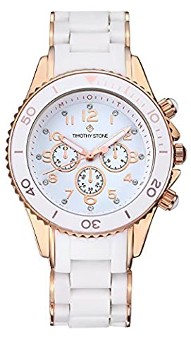 Timothy Stone - AMBER SILICONE - Montre Femme - Blanc, Or Rose