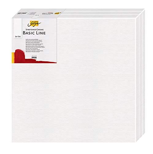 Kreul 632020 - Solo Goya Keilrahmen Stretched Canvas Basic Line 3er Set, ca. 20 x 20 cm, 4 fach grundiert, für Öl-, Acryl- und Gouachefarben