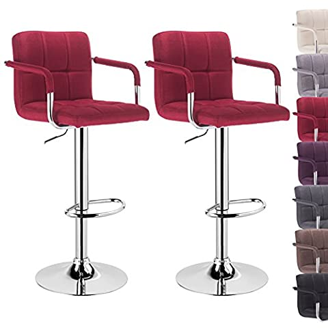 Woltu 2x linen bar stool with armrest, anti-slip rubber, well padded seat, height adjustable swivel bar chair BH59bd-2
