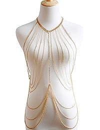 DEQIAODE Bikini Bralette Chaîne Harnais Collier Gland Crossover Corps  Chaîne Collier Bijoux pour Femmes 55ce7f19e77