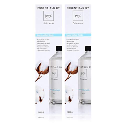 Essentails by Ipuro cotton fields Refill 1000ml Nachfüllflasche - Sanft, dezent und leicht pudrig mit einem Hauch von Vanille (2er Pack)