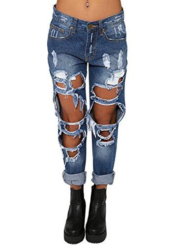 Wink Gal Donna Ripped Boyfriend Hole Jeans (x-small, blu scuro)