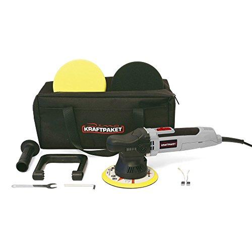 Dino KRAFTPAKET Exzenter Auto Poliermaschine L-HUB 9mm 650 Watt mit Polierschwamm Polierteller Tasche