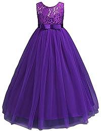 HUANQIUE Robe de Princesse Fille Mariage Demoiselle d Honneur Taille Haute  Dentelles 5 Couleurs c47820f0dbe