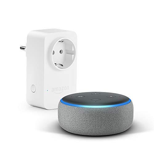 Echo Dot (3. Gen.), Hellgrau Stoff + Amazon Smart Plug (WLAN-Steckdose), Funktionert mit Alexa
