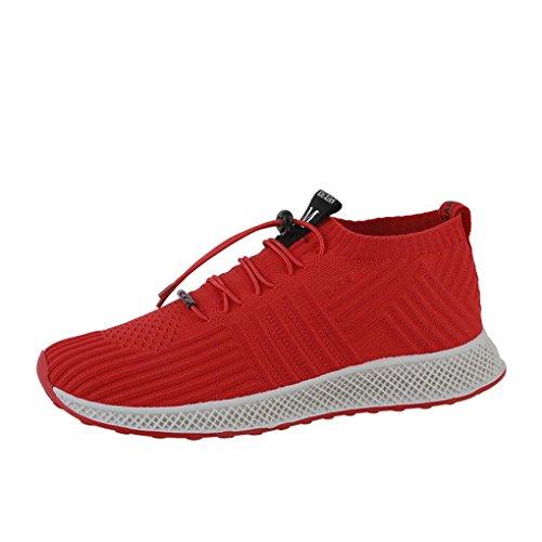 2018 Frühling Sommer Sportschuhe Herren,ABSOAR Männer Atmungsaktive Mesh Sneakers Socken Turnschuhe Lace up Freizeitschuhe Laufschuhe Flach Schuhe (EU:42.5/CN:44, Rot)