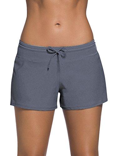 Dolamen donna pantaloni da nuoto, costumi da bagno donna pantaloncini bikini costume intero moda da bagno swimsuit swimwear costume mare con drawstring regolabile, boyleg style (xxx-large, grigio)