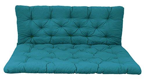 Ambientehome Palettenkissen mit Rückenlehne, blau, Sitzpolster 120 x 80, Rückenkissen 12