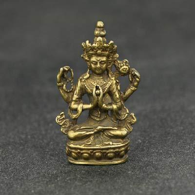 WYDZSM Antike Antike Messing Silber Handwerk Schreibtisch Dekoration Vier Arme Guanyin Qing Dynastie Bronze Anhänger Sammlung