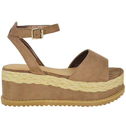 Sandales avec lanières - style espadrille/semelle plateforme épaisse - femme Faux suède moka/corde