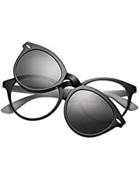 Meijunter Vintage Frame EyeBrille With Clip-on Magnetic Lenses Sonnenbrille Polarisiert UV400 q3dx1