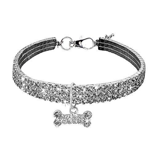 Bling Kostüm Halskette - Amphia - Niedlichen Mini Haustier Hund Bling Strass Chocker Kragen Phantasie Hund Halskette(S)