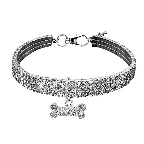 feiXIANG Haustier Halskette Mini Bling Strass Hundehalsband Für Kleine Mittlere Hunde Knochenform Halsband Halskette mit Anhänger Halsbänder (Silber,S)