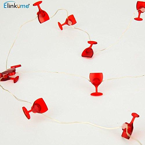ELINKUME 20LED Forme Rouge de Cuvette de Vin Guirlandes Lumineuses pour la Maison/ L'entreprise Décor/ Décorations de Noël/ Décorations de mariage (blanc chaud)