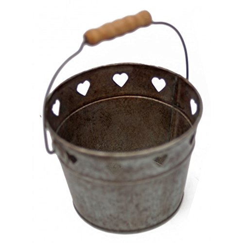 Antic Line - Panier Coeurs en Zinc avec poignée en Bois