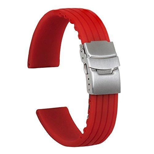 Ullchro Correa Reloj Calidad Alta Recambios Correa Relojes Caucho Stripe Pattern - 16mm, 18mm, 20mm, 22mm, 24mm Silicona Correa Reloj con Acero Inoxidable Hebilla desplegable (18mm, Rojo)