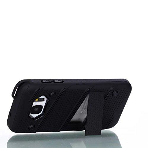 Ultra Thin Slim Dual Layer PC + Soft TPU Back Schutzhülle Case [Shockproof] mit Kickstand für Samsung Galaxy S7 ( Color : Silver ) Black