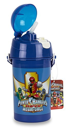 "Image of Official Licensed Power Rangers SUPER MEGAFORCE Plastic Bottle, 7.5"" with plastic straw - Licensed Power Rangers Merchandise"