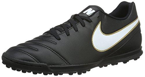 Nike Herren Tiempo Rio Iii Tf Fußballschuhe Schwarz / Weiß / Gold (Schwarz / Weiß-Metallic Gold)
