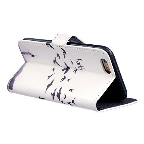 iPhone 6S Coque Cuir, Aeeque Bookstyle Ultra-mince Papillon Coloré Désign Fermeture Magnétique Étui en cuir PU de première qualité Coverture avec La Fonction Stand pour iPhone 6 / 6S 4.7 pouce Faith