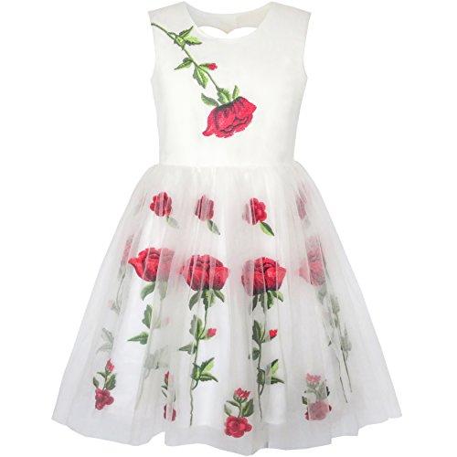 Rose Blume Stickerei Herz Gestalten Zurück Hochzeit Gr. 122 (Boutique-kleine Mädchen-kleidung)