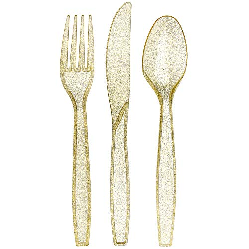 Besteck Set aus goldfarbenem Kunststoff mit Glitzer, transparenter Kunststoff, Einweg-Besteck-Set, silberfarben 180 Combo Pack gold -