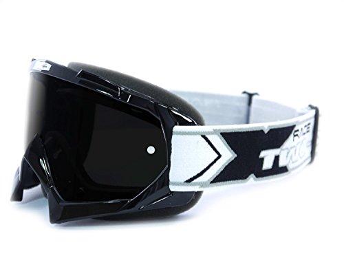 TWO-X Race Crossbrille schwarz Glas getönt schwarz grau MX Brille Motocross Enduro Motorradbrille Anti Scratch MX Schutzbrille