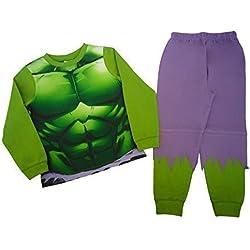 Pijama del increíble Hulk para niños desde 2 a 3 años hasta 7 a 8 años verde verde