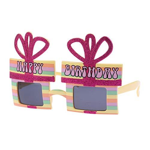 Amosfun Geburtstags-Sonnenbrille-Geschenk-Box geformt Neuheit Eyewear lustige Brille Geburtstagsgeschenk Party Supplies Graduation Gift