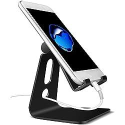 Demarkt Support Téléphone Smartphone Universal Bureau Multi Position Aluminium Portable Ajustable Stand Dock Pour E-readers iPhone 7 6 6s 6s plus 5s 5 HUAWEI Samsung S3 S4 S5 S6 S7 Noir 1PC