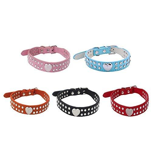 La Vie Hundehalsband, größenverstellbar, PU-Leder, mit Strassbesatz, für kleine Hunde / Katzen, in 2 verschiedenen Größen erhältlich - 5