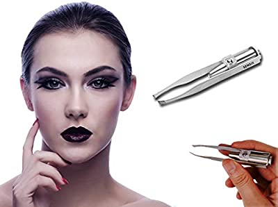 Sensica Lumi Tweezers – Precision Tweezers with Light for Men and Women. Slant tip with Point for a Professional tweezing Experience [Eyebrows, Nose, Lip, Hair Removal] LED Light Stainless Steel