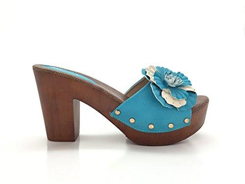 CHIC NANA . Sandale à plateforme, orné d'une fleur Bleu pastelle
