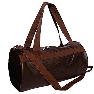 Auxter Brown Leatherette Gym Bag Duffel Bag Shoulder Bag for Men and Women Emboss Logo