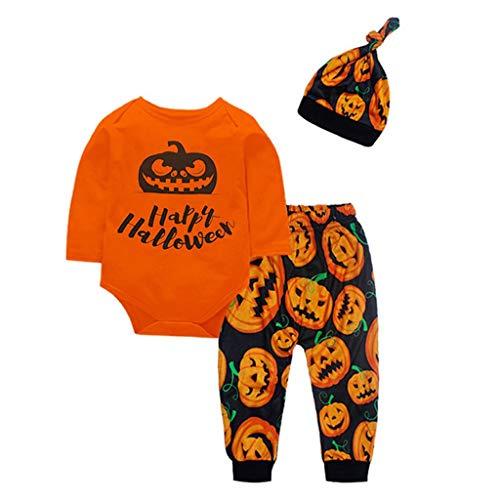 Mymyguoe Pumpkin Romper Pants Cap Halloween 3PCS Conjunto de Trajes Niño Camisa Camiseta Sudadera Casual Ropa de Bebe niñas Blusa para Niños Shirt Ropa Bebe de 0 a 3 Meses Pijama niño