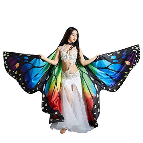 2019 Kinder Damen Schmetterlingsflügel Erwachsene Party Karneval Cardigan Feenhafte Umhang Pixie Halloween Cosplay Weihnachten Kostüm Mädchen Prinzessin Bauchtanz Kostüme Geschenk (Regenbogen)