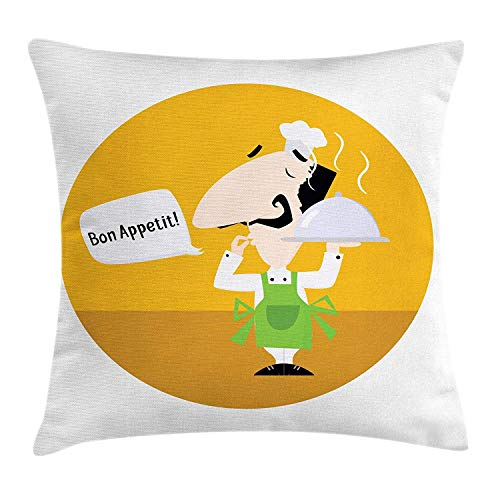 Bon Appetit Throw Pillow Cushion Cover, Italian Chef Speech Bubble Cartoon Style Illustration Culinary Art Design, Decorative Square Accent Pillow Case, 18 X 18 Inches, Multicolor -