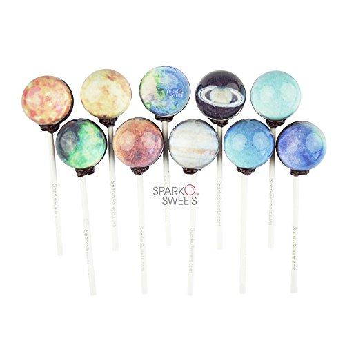 Lollipops de la galaxia planeta Planeta Piruletas Diseños (10 Piezas) en Paquete del regalo de la hoja del espacio Galaxy Lollipops