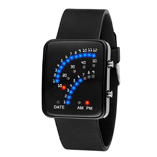 OverDose Damen Herren Futuristische Art Multicolor LED Sport Armbanduhr (Schwarz) (- York New Herren-leder)