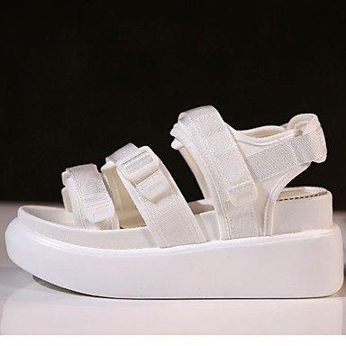 Sandales femmes Printemps Été Automne occasionnels Tissu Confort Talon plat Rouge Rose Noir Blanc White