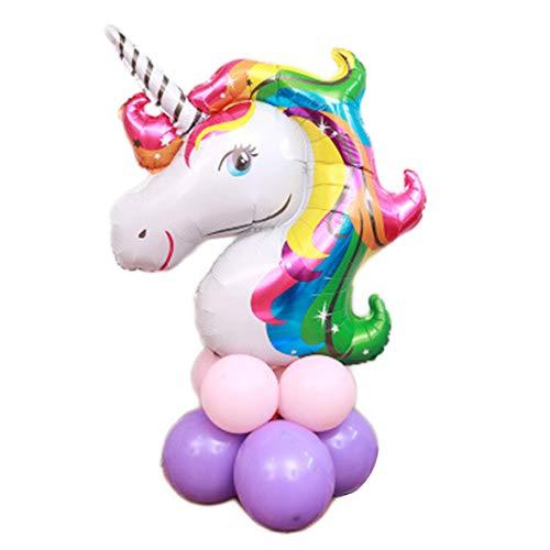 yuehuxin Matten-Luftballons + 1 Einhorn-Luftballon für Geburtstagsparty, Babyparty, Hochzeit, Dekoration für Zuhause Color Unicorns Purple Powder Balloon Road Guide