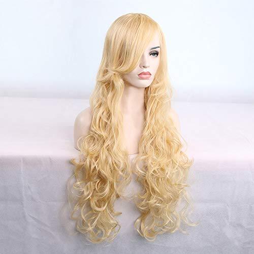 Rifuli® Perrücke 80cm Frauen Hitzebeständiges Haar Blonde Lange Lockige Volle Perücke 90er/80er jahre ()