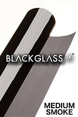 BLACKGLASS IX® Rouleau de Film Teinté Noir de haute qualité pour voiture, fourgonnette et véhicule. Film solaire, anti-reflet et anti-regard avec guide d'installation. 20% lumière, 6m x 65cm, 2 plis