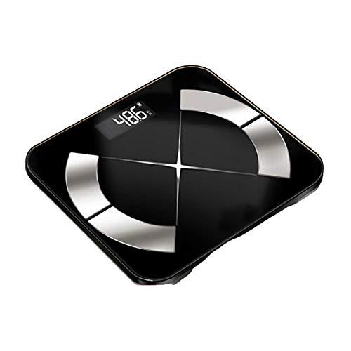 ZGY Smart-Badezimmer-Skala, Bluetooth Körperzusammensetzung Überwachung Health Analyzer, Geeignet für Fett, BMI, BMR,Schwarz